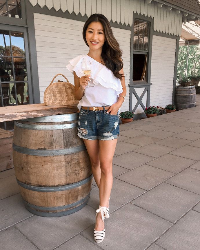 eddbf4bba982 White one shoulder ruffle top+denim shorts+white and black striped lace-up  espadrilles+brown belt+raffia basket-bag. Summer Casual Brunch Outfit 2017