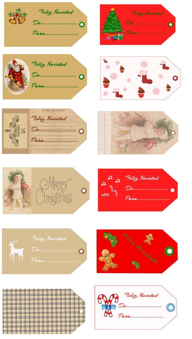 ETIQUETAS NAVIDEÑAS GRATUITAS | tarjetas,carteles,etc | Pinterest ...