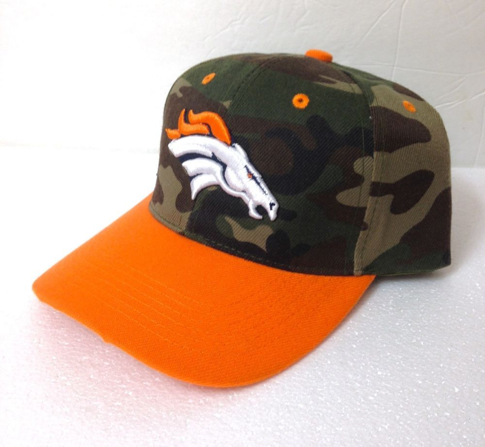 9e07335afba New DENVER BRONCOS CAMOUFLAGE HAT curved bill structured camo green orange  ADULT  DenverBroncos