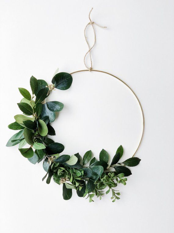 Photo of Greenery Hoop Wreath, Eucalyptus wreath, Minimalist Wreath, Greenery Backdrop, Eucalyptus bouquet, Scandinavian Decor, Boho wedding venue
