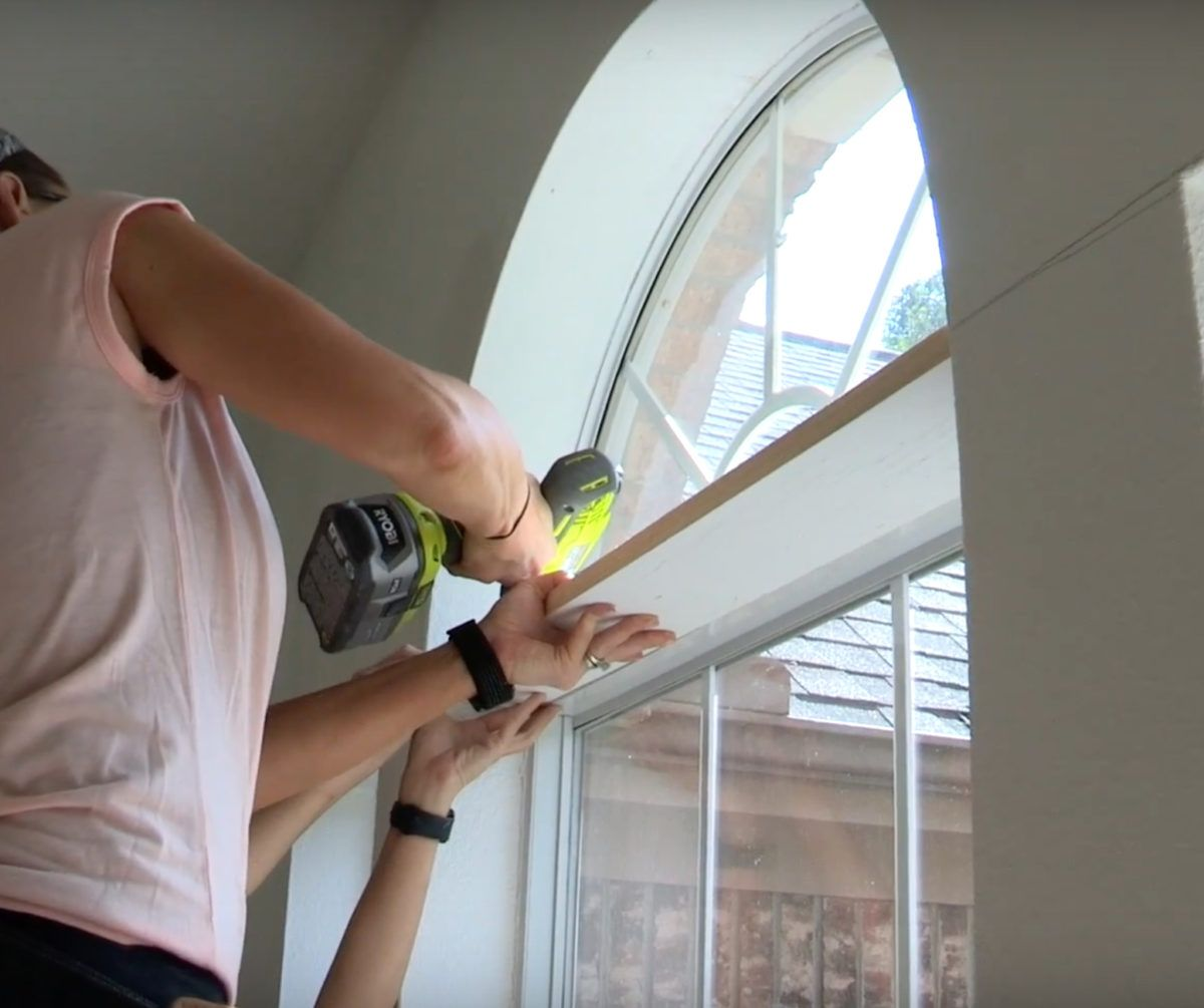 Diy Window Trim To Cover And Existing Half Circle Window Half