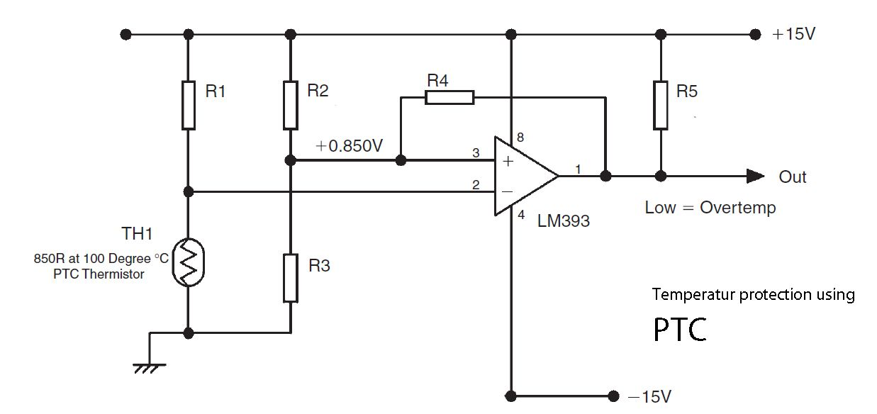 Temperature protection using PTC and LM393 | protect
