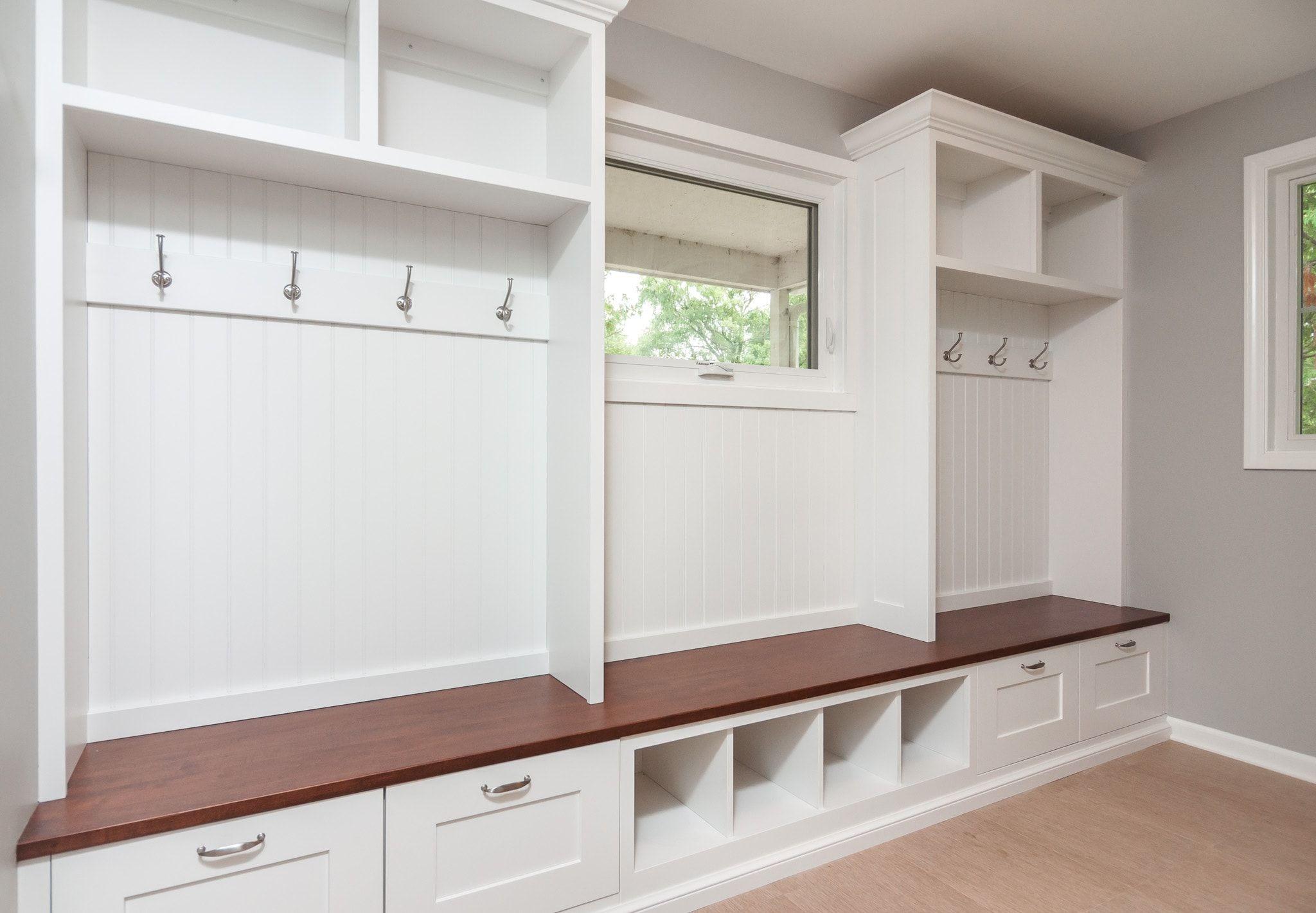 Mudroom White hardwood bench, coat rack, shoe