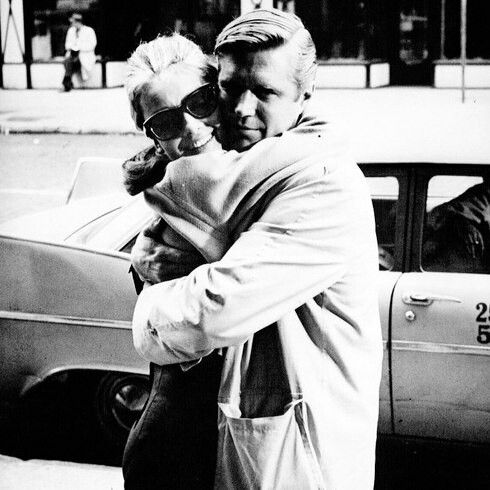 Audrey Hepburn and George Peppard in New York City during the production of Breakfast at Tiffany's, 1960.