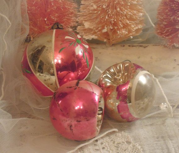 Three Vintage Christmas Hand Painted Glass / Two by vintageaddie