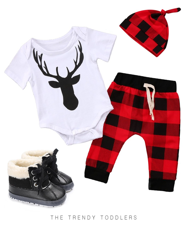 SALE 55% OFF + FREE SHIPPING! SHOP Our Deer Checkered Set & Warm Fur Boots for Baby Boys
