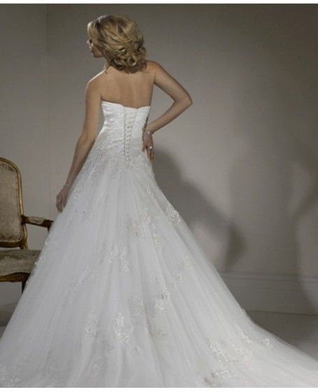 Appliques Sleeveless Lace Ball Gown Wedding Dress back