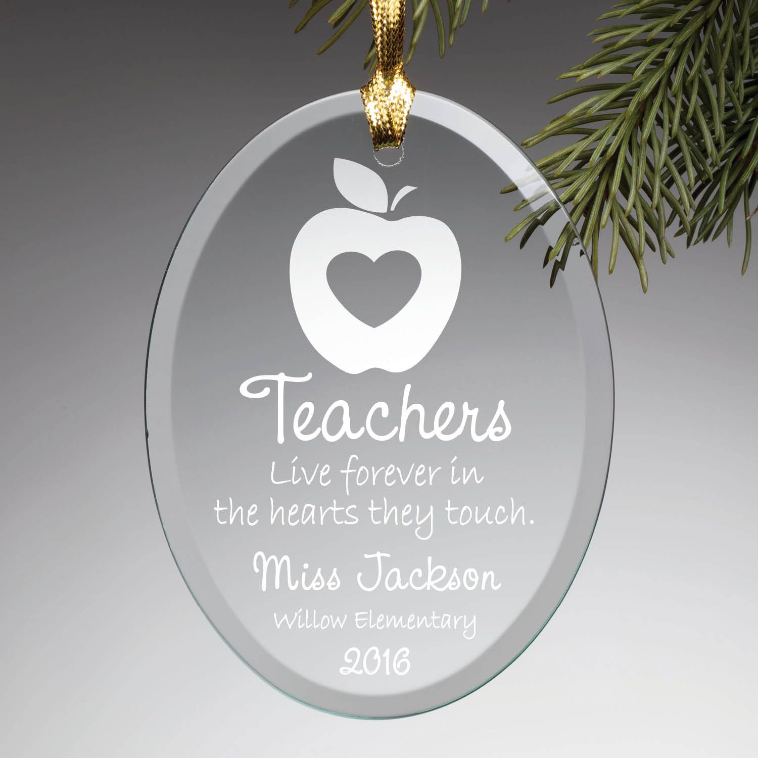 Engraved glass ornaments - Special Teacher Personalized Glass Ornament