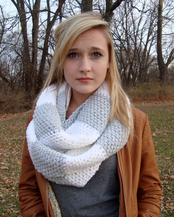 Instant Download Crochet Scarf Pattern Rugby Stripe Circle Scarf