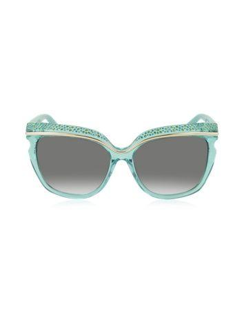 SOPHIA/S DSLN6 Crystal and Aqua Green Acetate Women's Sunglasses