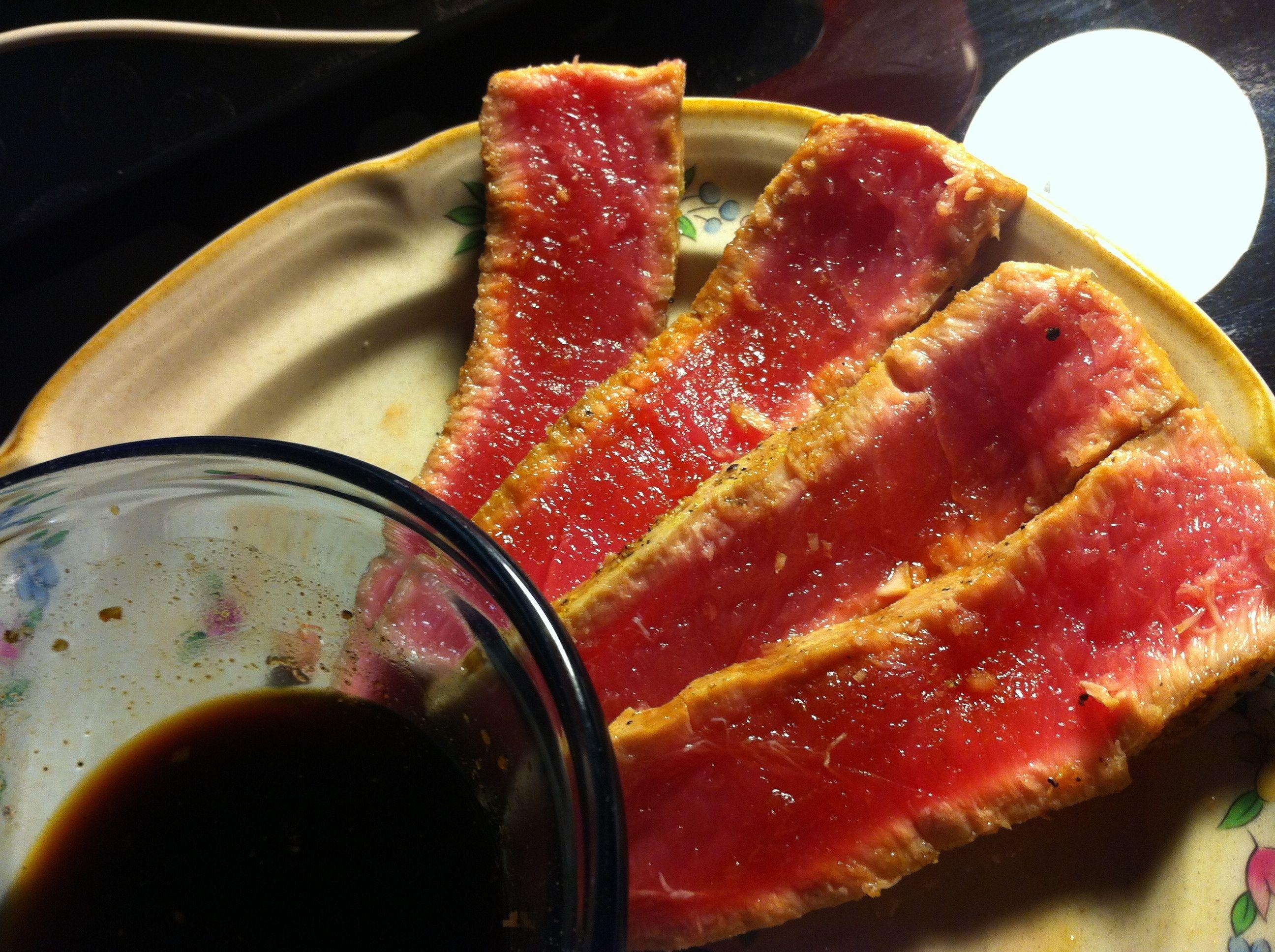 Pan Seared Ahi Tuna Steak with Gluten-Free Tamari based teriyaki sauce, made with agave nectar, fresh ginger, garlic & lime juice