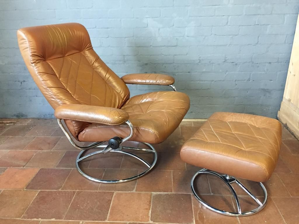 Vintage Retro 70 S Leather Reclining Chair Stool Reclining