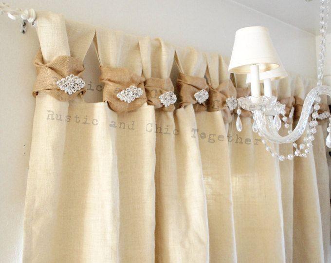 Burlap Curtain - Rhinestone Jewelry - Champagne Burlap - Wide Ruched and Rhinestone