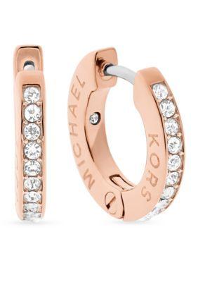 c0264778b10f Michael Kors Haute Hardware Rose Gold-Tone and Crystal Huggie Hoop Earrings
