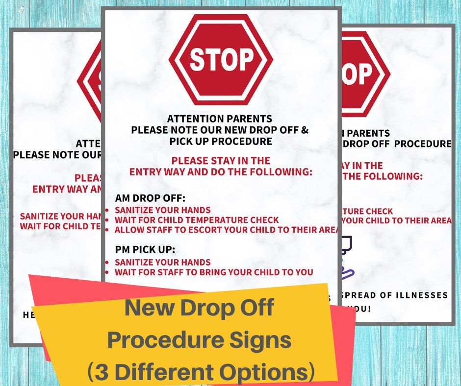 Photo of DROP OFF POLICY- Daycare Printable New Drop Off Procedure Sign /Perfect for Child Care Centers and In Home Daycares