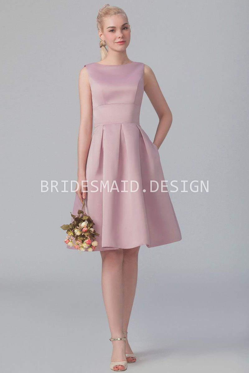 Rose satin vintage short bridesmaid dress sleeveless boat neckline