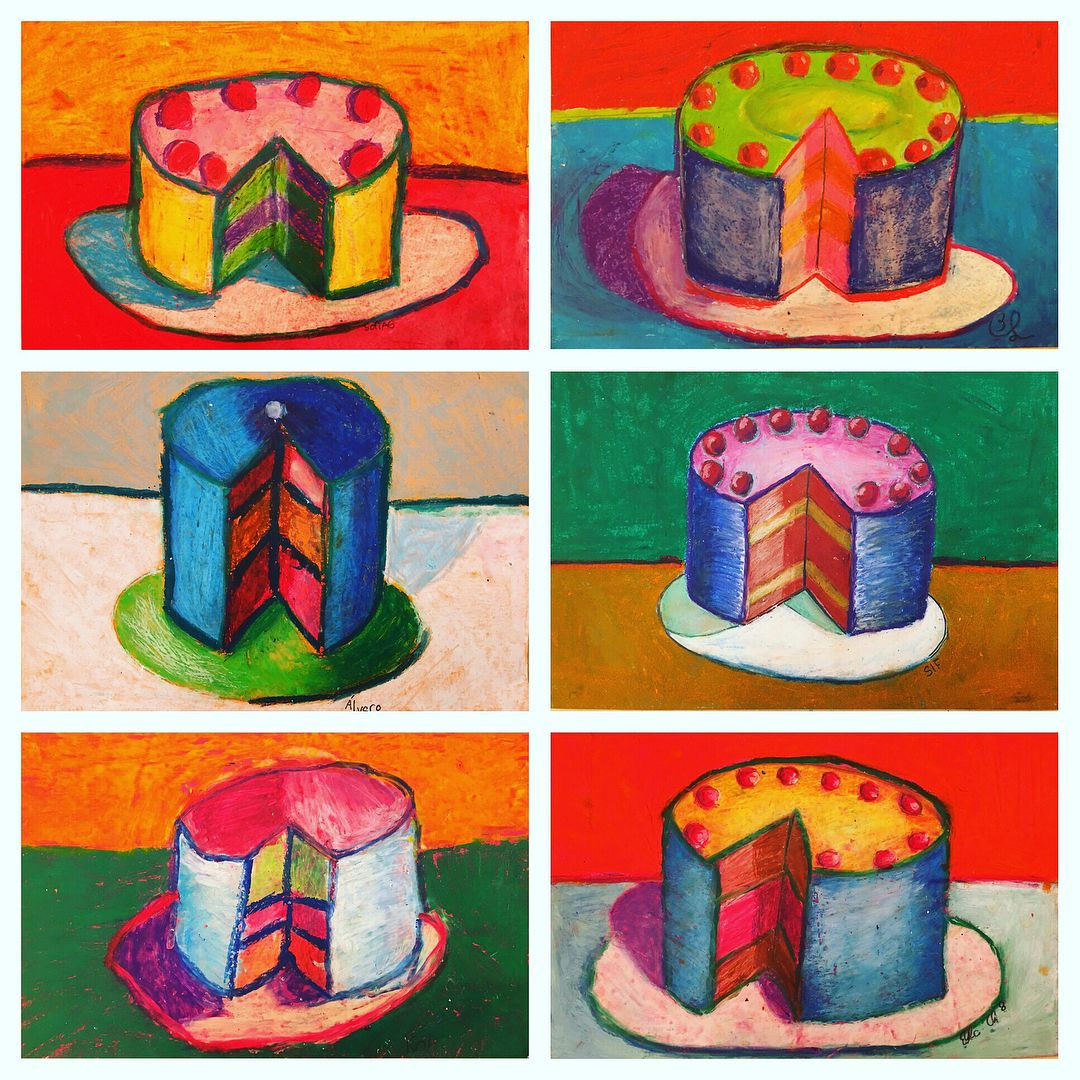 Wayne Thiebaud oil pastel cakes on colored construction