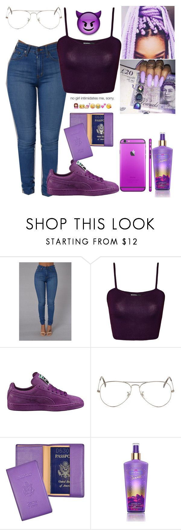 """FEELIN IT"" by kimah101 ❤ liked on Polyvore featuring WearAll, Puma, Ray-Ban, Royce Leather and Victoria's Secret"