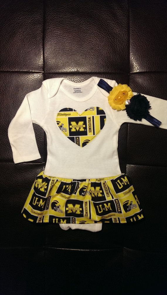 Boutique University Of Michigan Onesie Dress And Headband Set