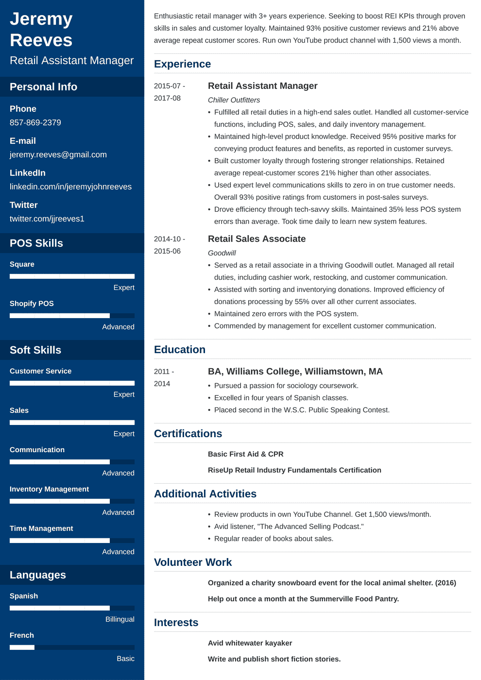 assistant manager resume template cascade in 2020 Resume