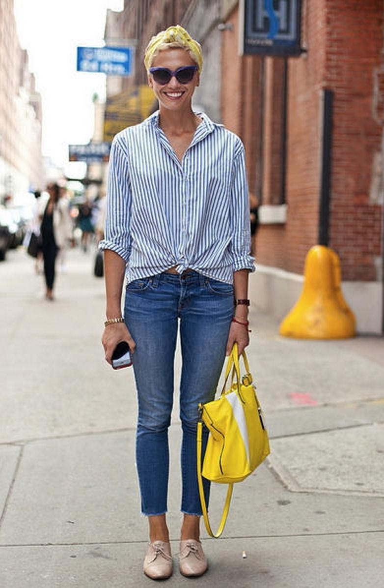 stripes / denim / Oxfords / bright bag + head scarf
