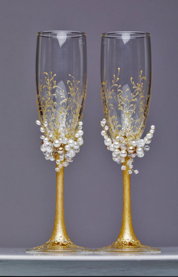 Personalized wedding flutes wedding weddingbohemianchic etsy - Unusual champagne flutes ...