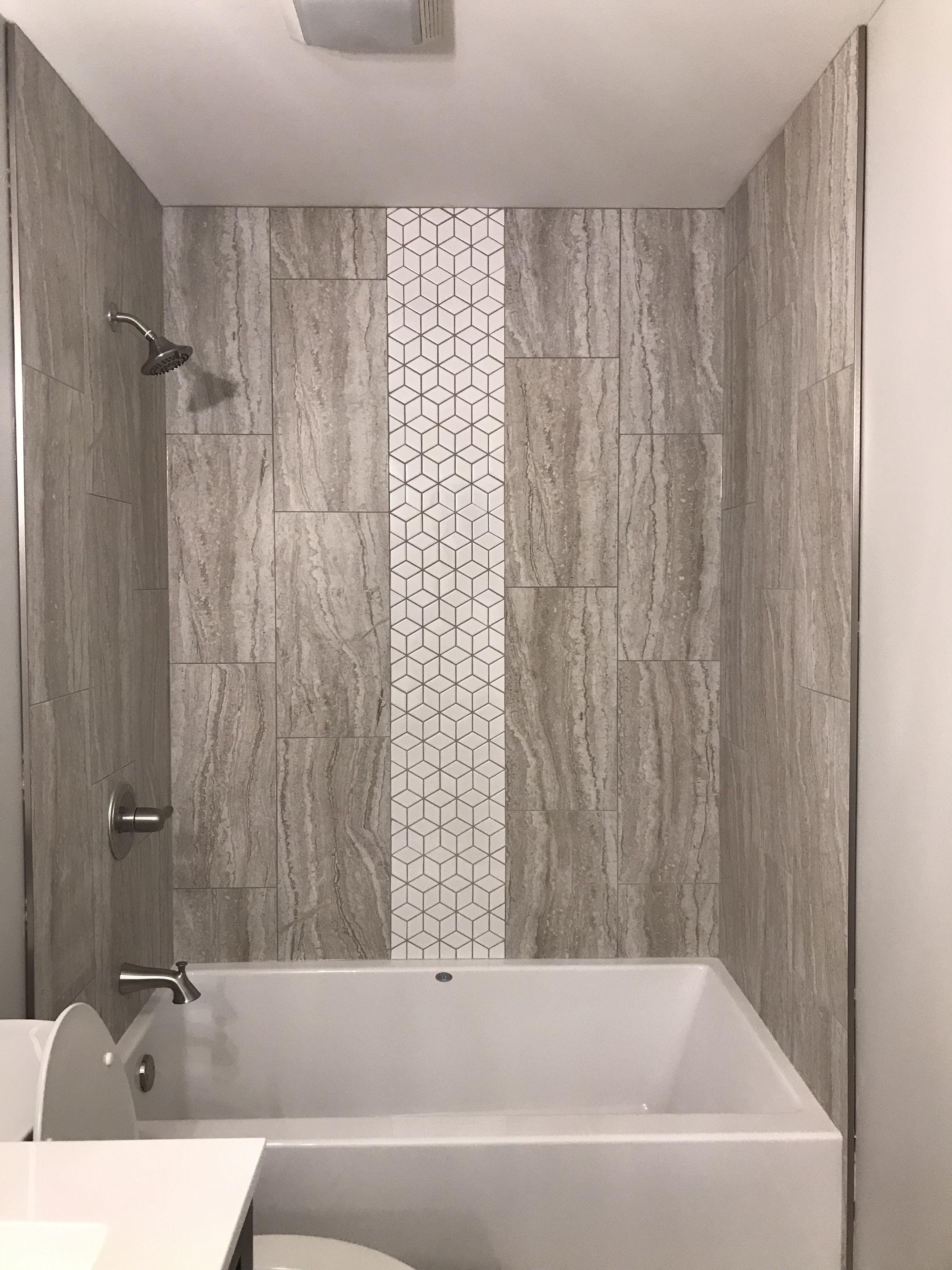 Custom Tile Tub Shower Surround With White Rhombus Tile Mosaic Accent Shower Surround Shower Tub Rhombus Tile
