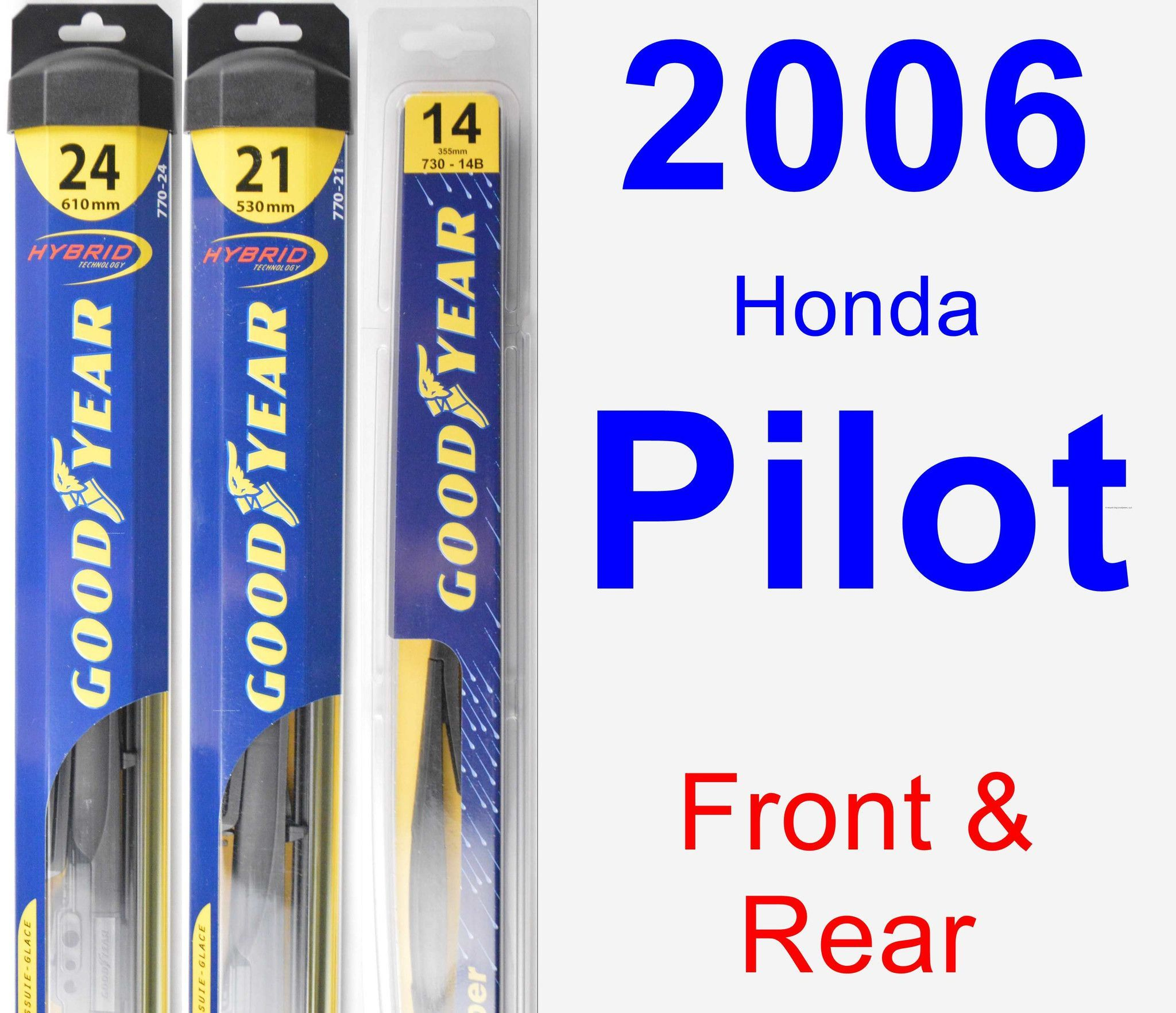 Front & Rear Wiper Blade Pack For 2006 Honda Pilot