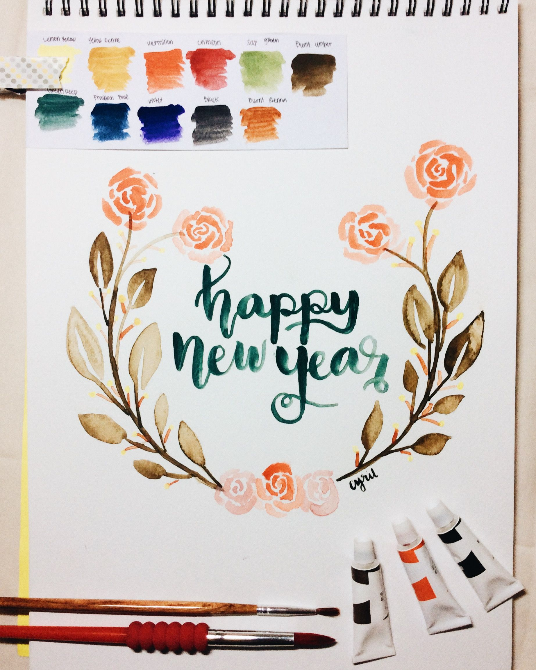 NEW YEAR GREETING CARD WREATH WATERCOLOR HAPPY NEW YEAR