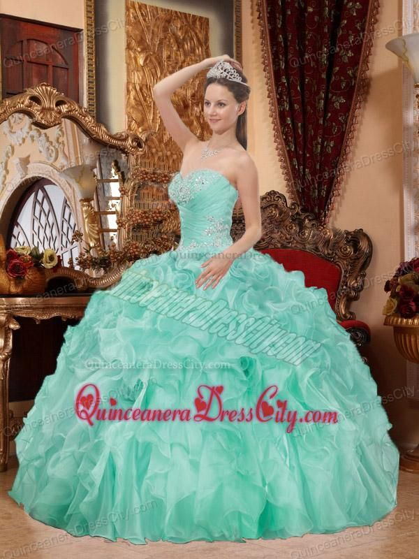 b232fc1a7a4 Elegant Sweetheart Neck Apple Green Balll Gown Beading Ruffles Quinceanera  Dress -  226.97