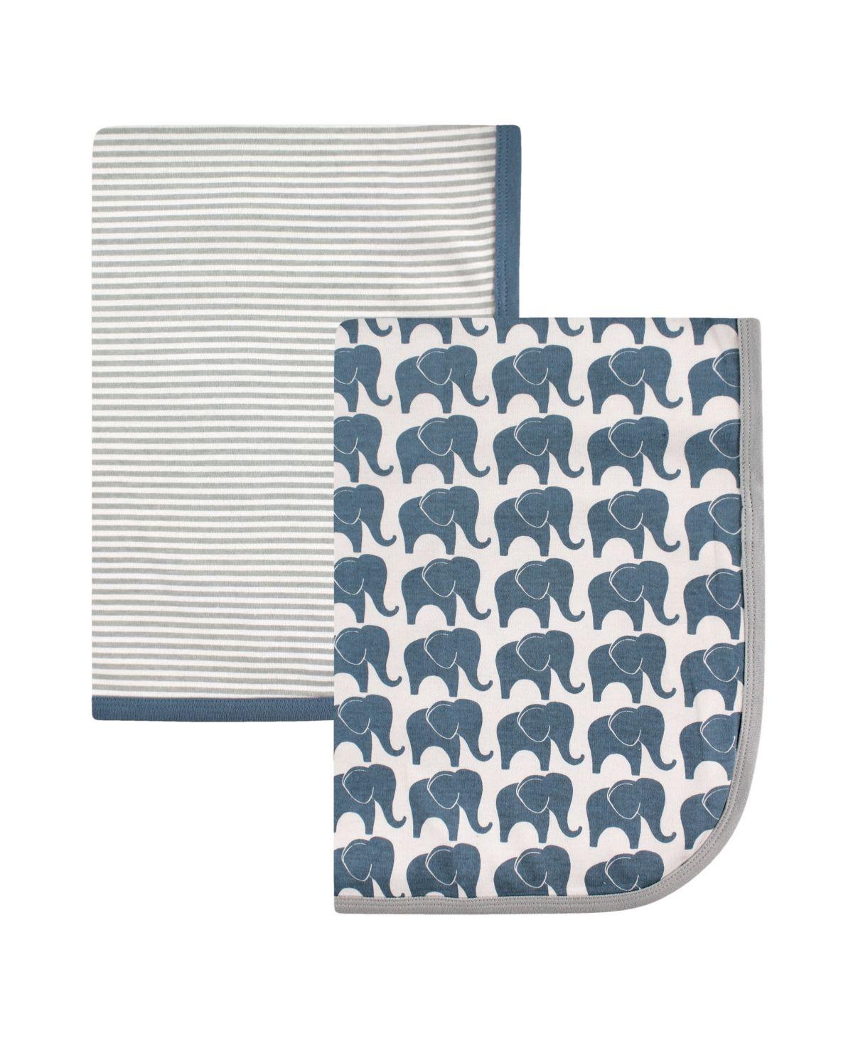 CUTE ANIMALS Hudson Baby 2 x 100/% Interlock Cotton Boy Baby Swaddle Blankets NEW