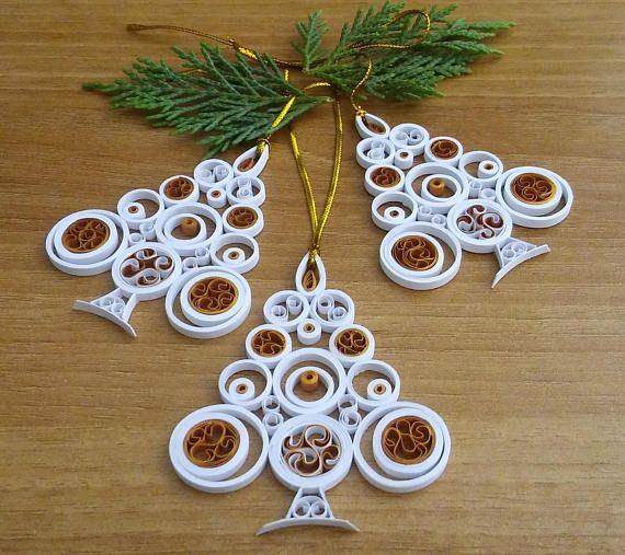 Christmas Tree Ornament White Christmas Tree Christmas Decoration Christmas Quilling Art Quilled Christmas Tree Paper Quilling Xmas Quilling Christmas Quilling Designs Paper Quilling