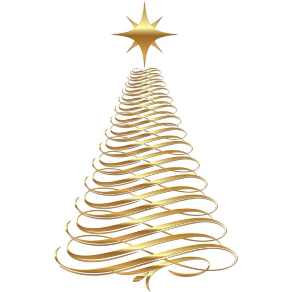 Large_Transparent_Christmas_Gold_Tree_Clipartpng ❤ liked on