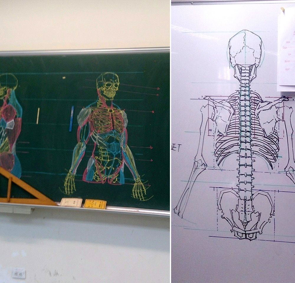 Chinese illustrator and anatomy instructor Chuan-Bin Chung encourages his students to understand the intricacies of the human body by drawing them. For many of his lessons he creates impermanent drawings on chalkboards as a helpful guide, but instead of quick sketches as one might be accustomed to, the pieces are exacting and colorful depictions of bones, muscles, and tendons—practically works of art in their own right. Chung shares many videos and sketches of his lessons on Facebook.