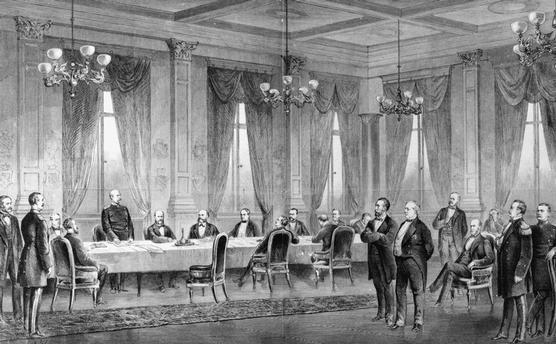 Sitzung des Bundesrats des Deutschen Reiches. Holzstich nach Zeichnung von Carl Röchling, 1877.