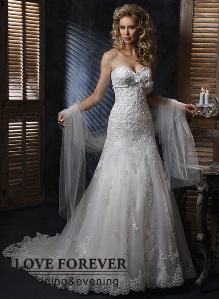Silver Lace Wedding Dress | Silver Lace and Tulle Sweetheart ...