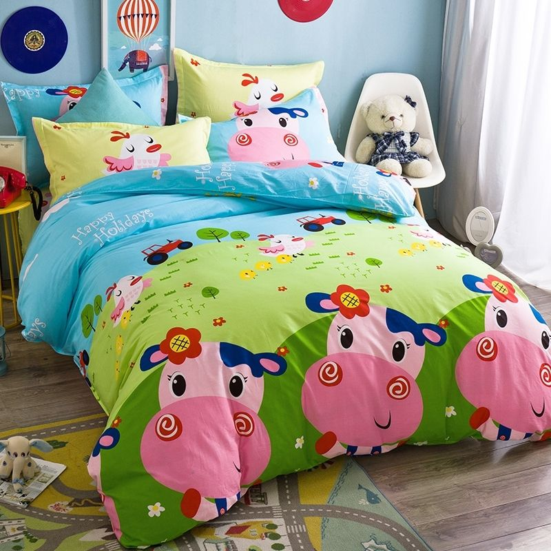 Grey and Blush Decorative Quilted 2 Piece Coverlet Set with Pillow Sham Lunarable Nursery Bedspread Smiling Cheerful Pig in Cartoon Style Preschool Theme Domestic Farm Animal Twin Size