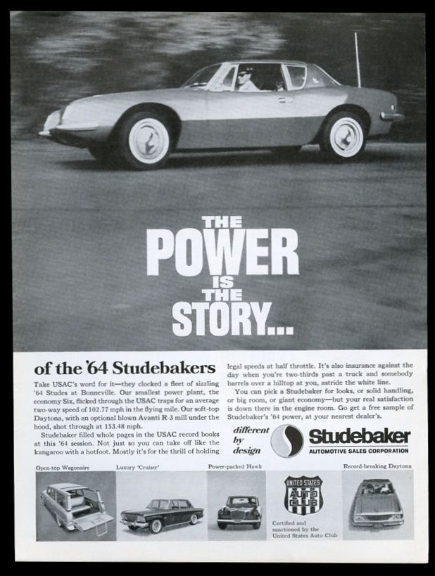 1964 Studebaker Avanti car photo vintage print ad | eBay ...