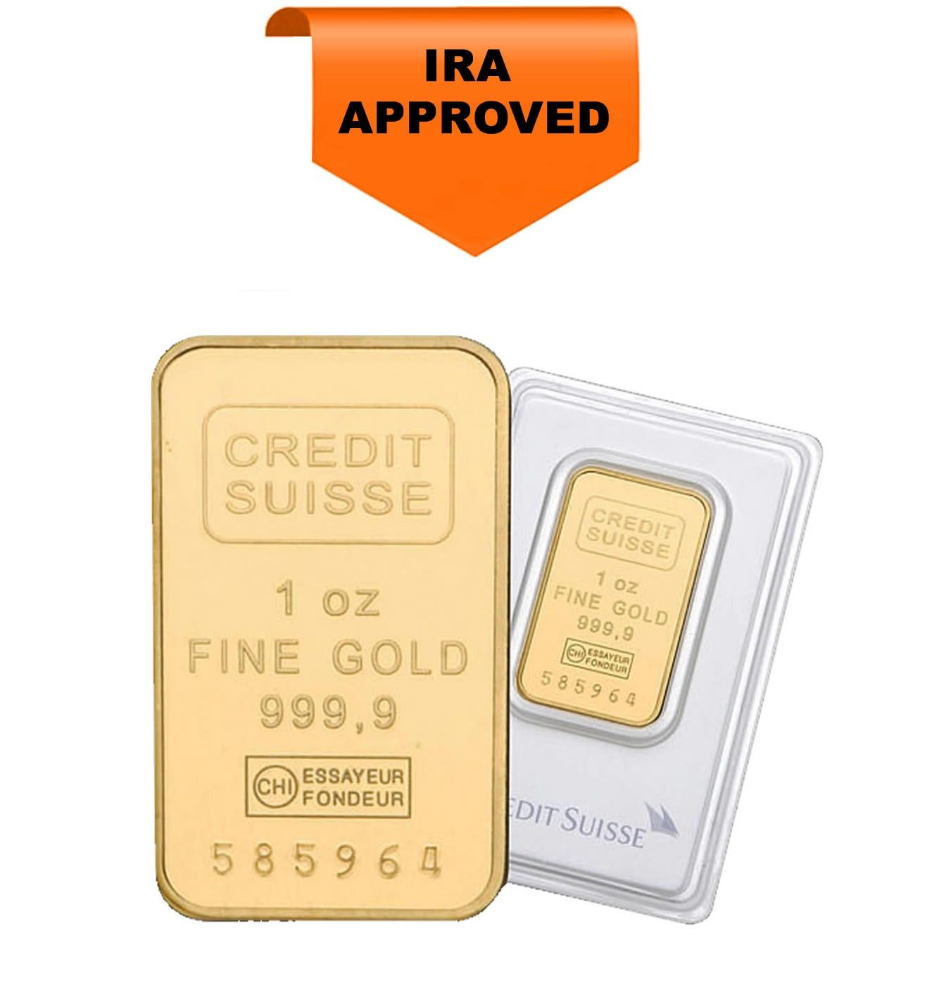 Credit Swiss 24 Karat 1 Oz Gold Bar Silver Bars Gold Silver Bullion