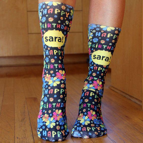 19280aefc827b Full Print Custom Happy Birthday Socks with Personalized Message! by  SockprintsOnEtsy.etsy.com #sockprints