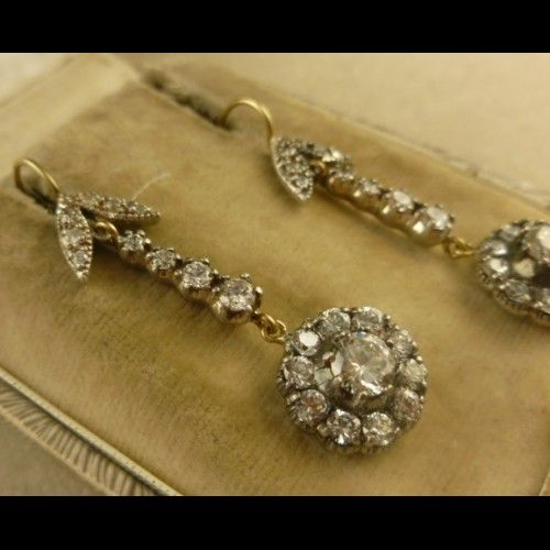 WONDERFUL GEORGIAN LONG PASTE SILVER/GOLD EARRINGS
