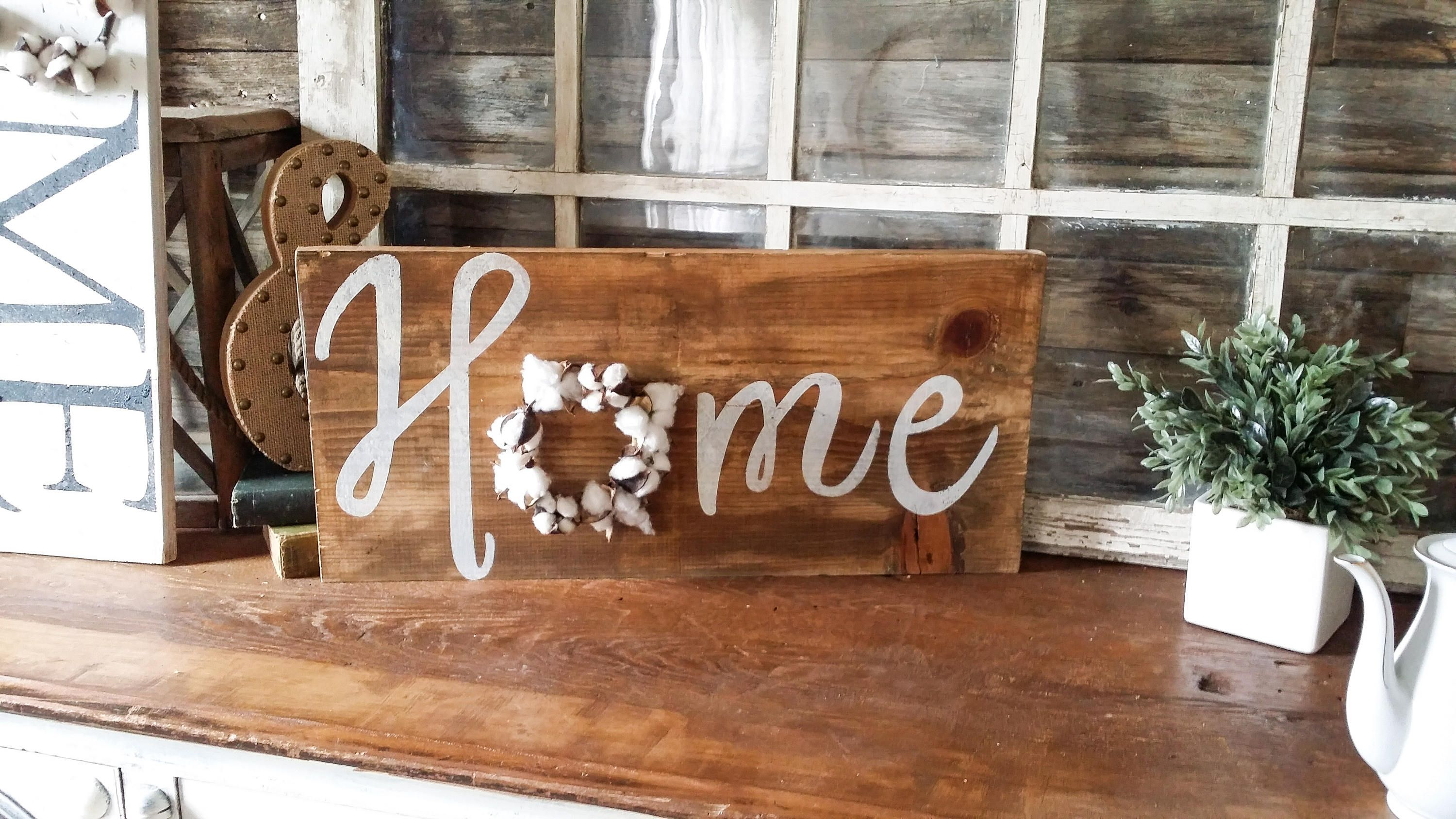 Farmhouse home sign with cotton wreath home sign cotton
