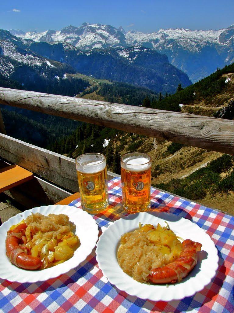 Bayern Bavaria Alpen Bier Wurst Sauerkraut Daftig Alm