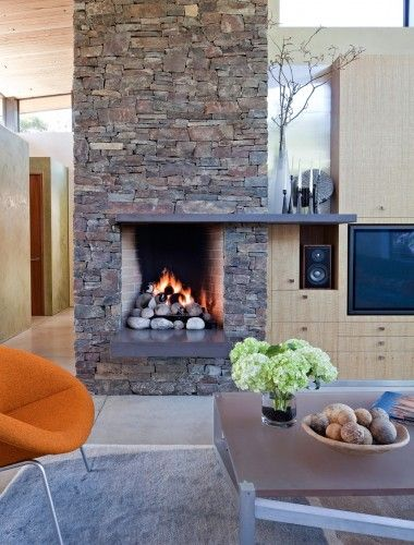 Gas Fireplace Next To Media Cabinet Stone Fireplace Designs