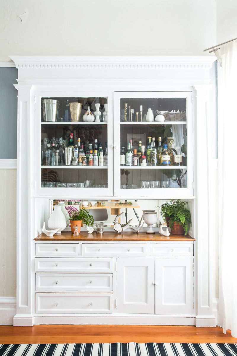 White Built In Bar, Wood Countertops, Glass Cabinets | Lauren Nelson Design