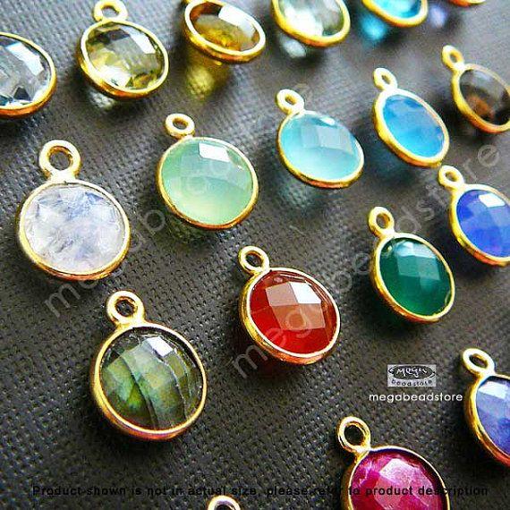 12mm (8mm Stone)  Bezel Gemstone Charm Gold F383- 4 pcs (Choose your color) on Etsy, $15.99
