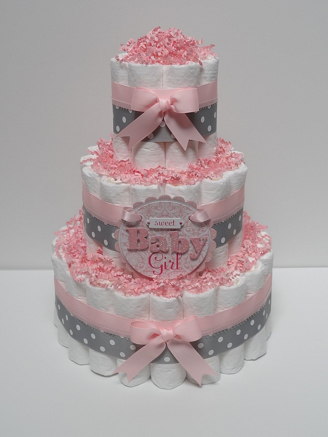 Baby Girl Pink And Gray Diaper Cake Baby By
