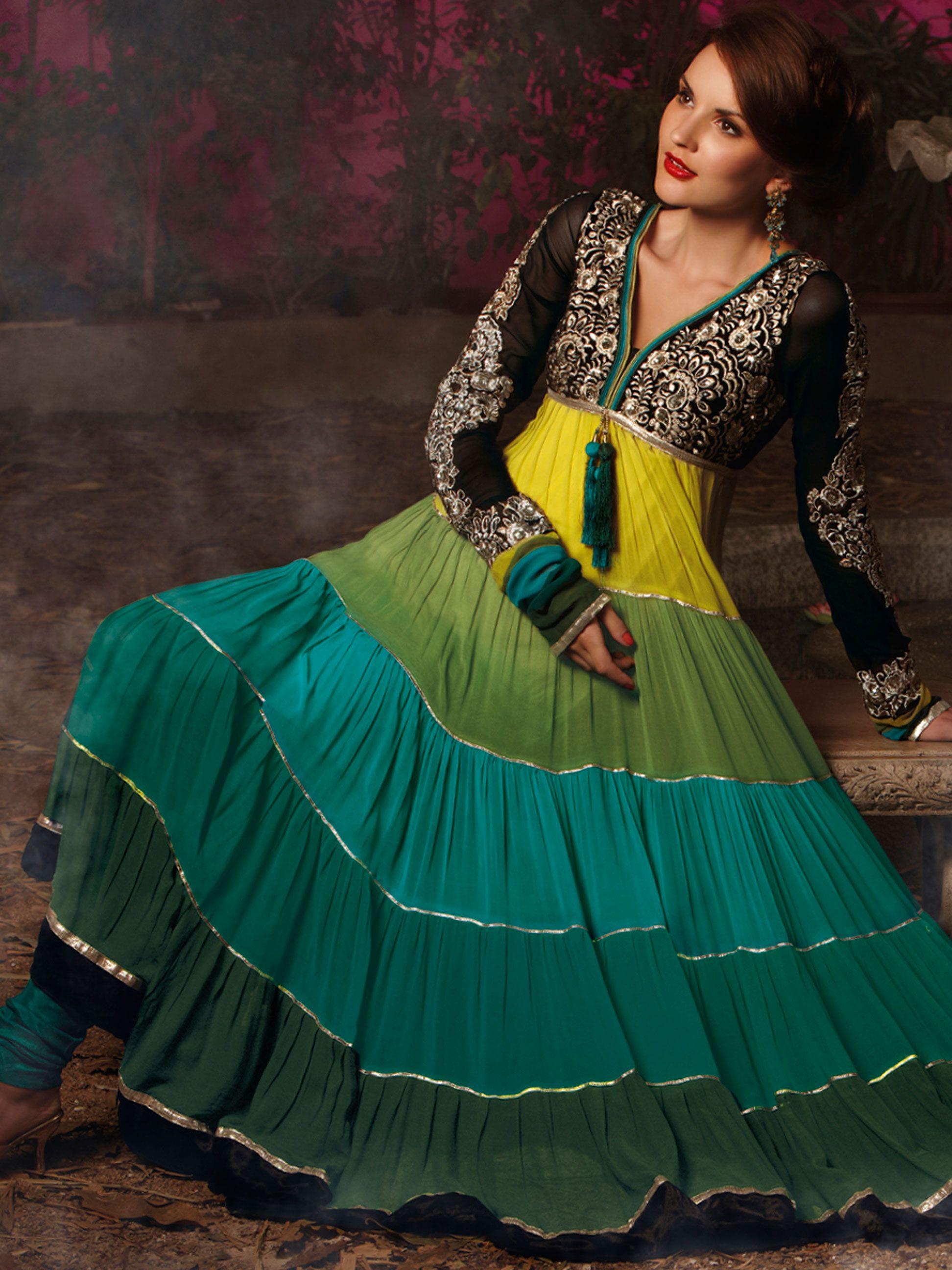 Yellow, Green and Turquoise Georgette Anarkali Churidar Kameez