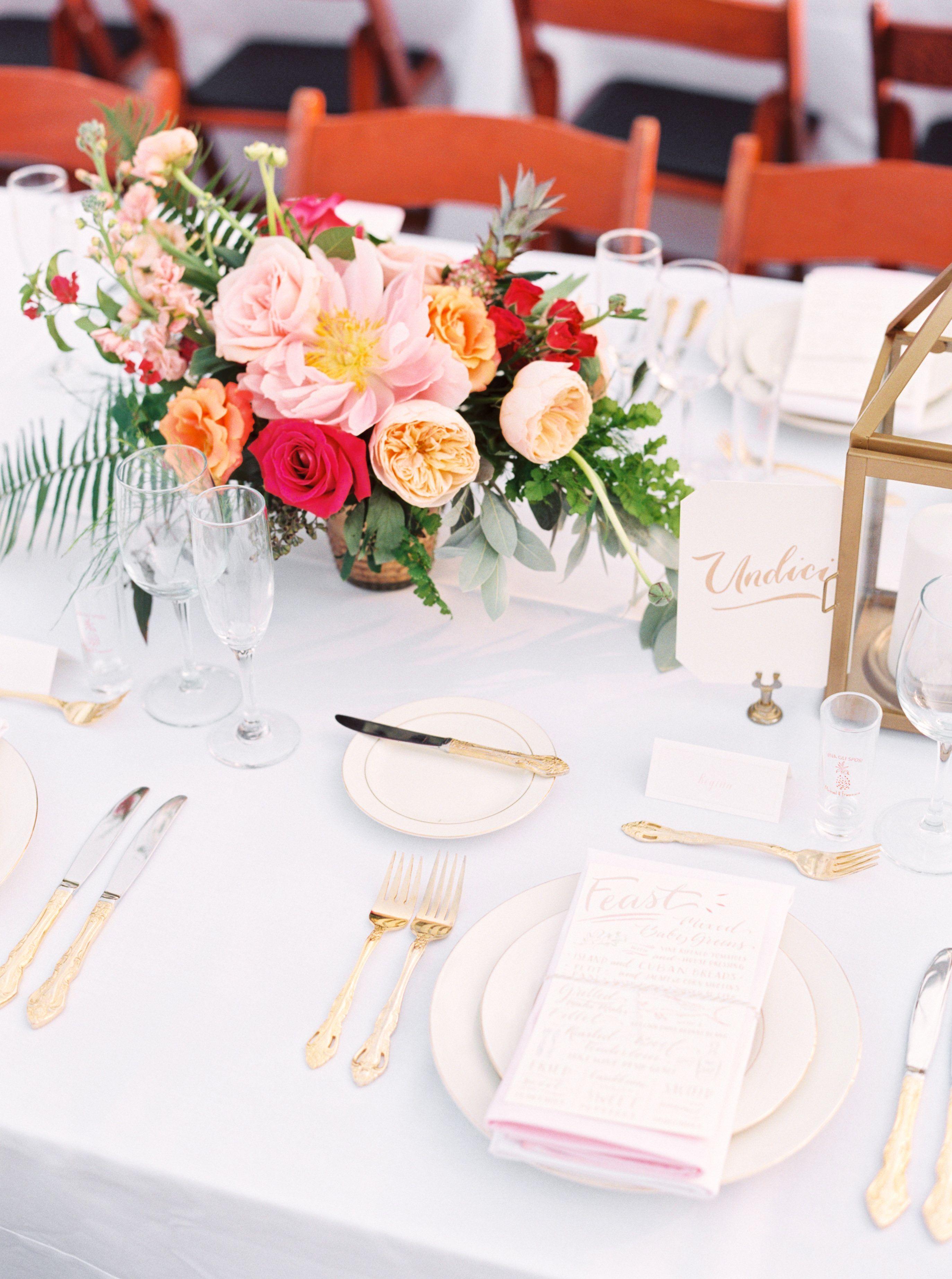 Low, Colorful Dahlia and Rose Centerpiece | Beach Weddings ...