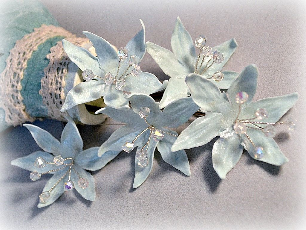 Trendy bridal headpiece - Star Flower Wedding Hair Pins Something Blue For Bride Bridal Headpiece Christmas Party